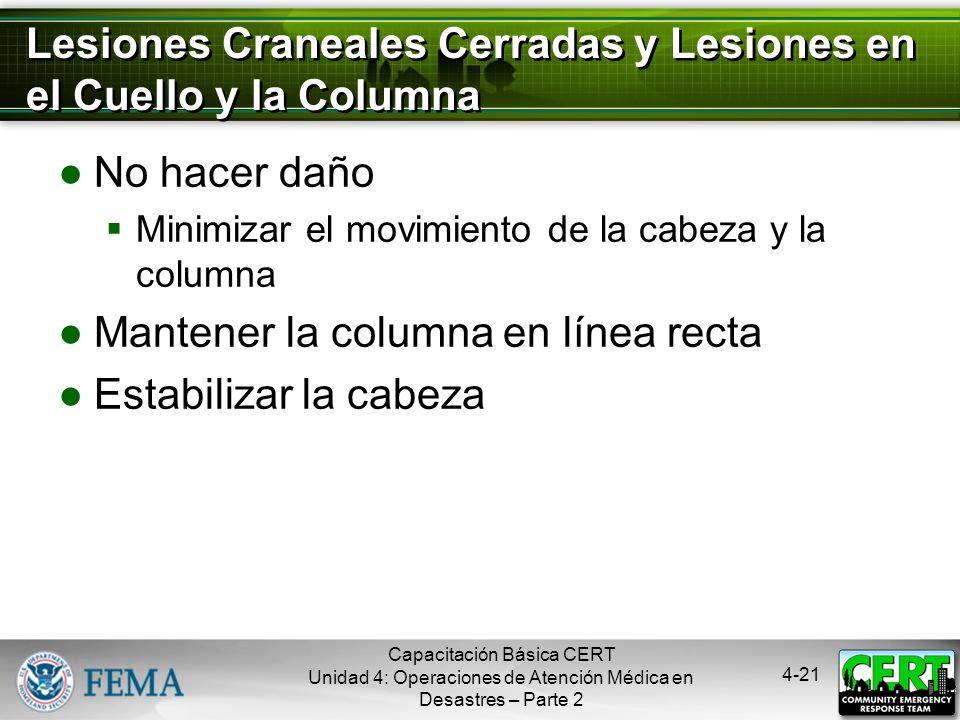 Lesiones Craneales Cerradas y Lesiones en el Cuello y la Columna