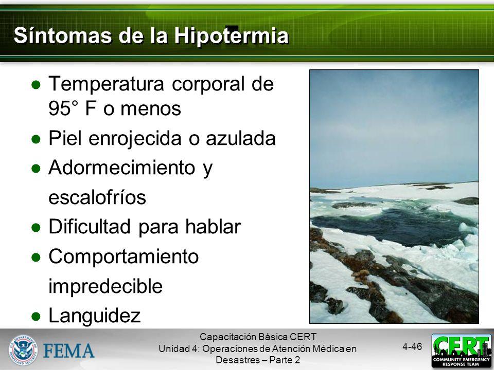 Síntomas de la Hipotermia
