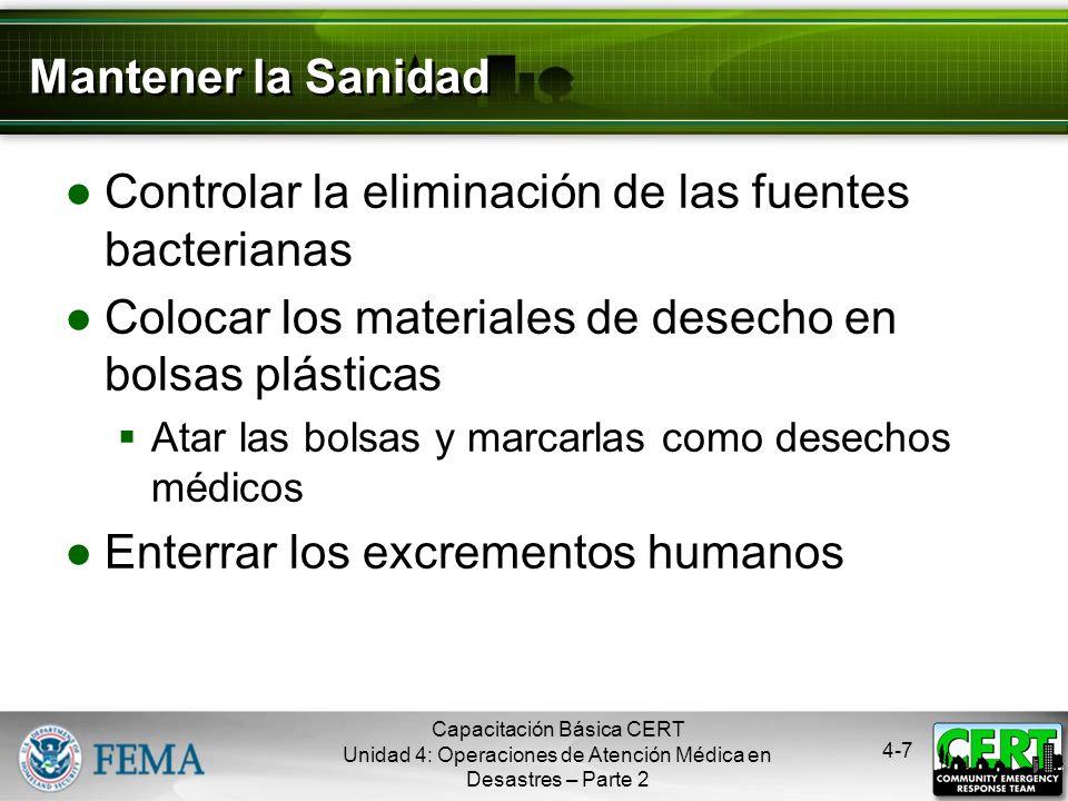 Controlar la eliminación de las fuentes bacterianas
