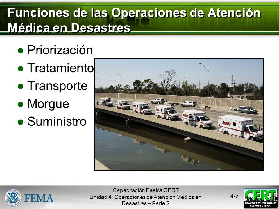 Funciones de las Operaciones de Atención Médica en Desastres