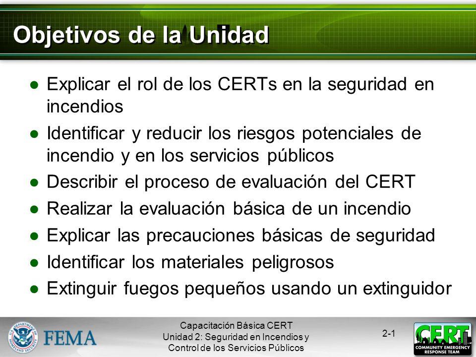 Objetivos de la Unidad Explicar el rol de los CERTs en la seguridad en incendios.