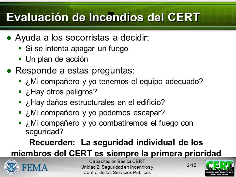 Evaluación de Incendios del CERT