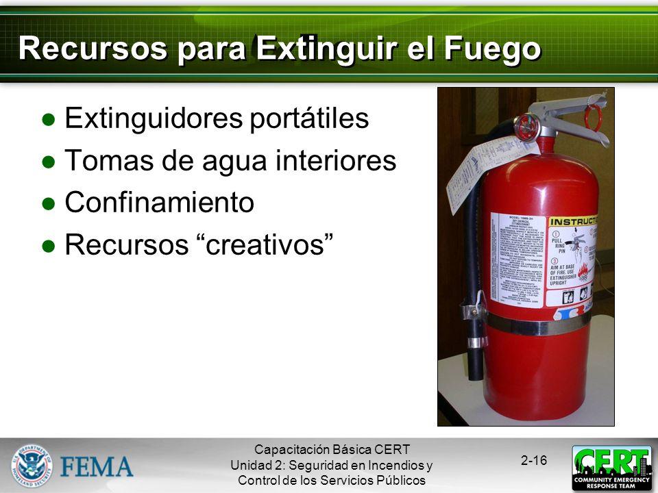 Recursos para Extinguir el Fuego
