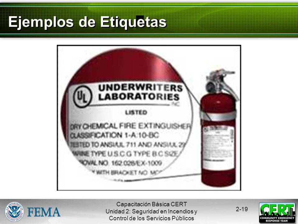 Ejemplos de Etiquetas Capacitación Básica CERT