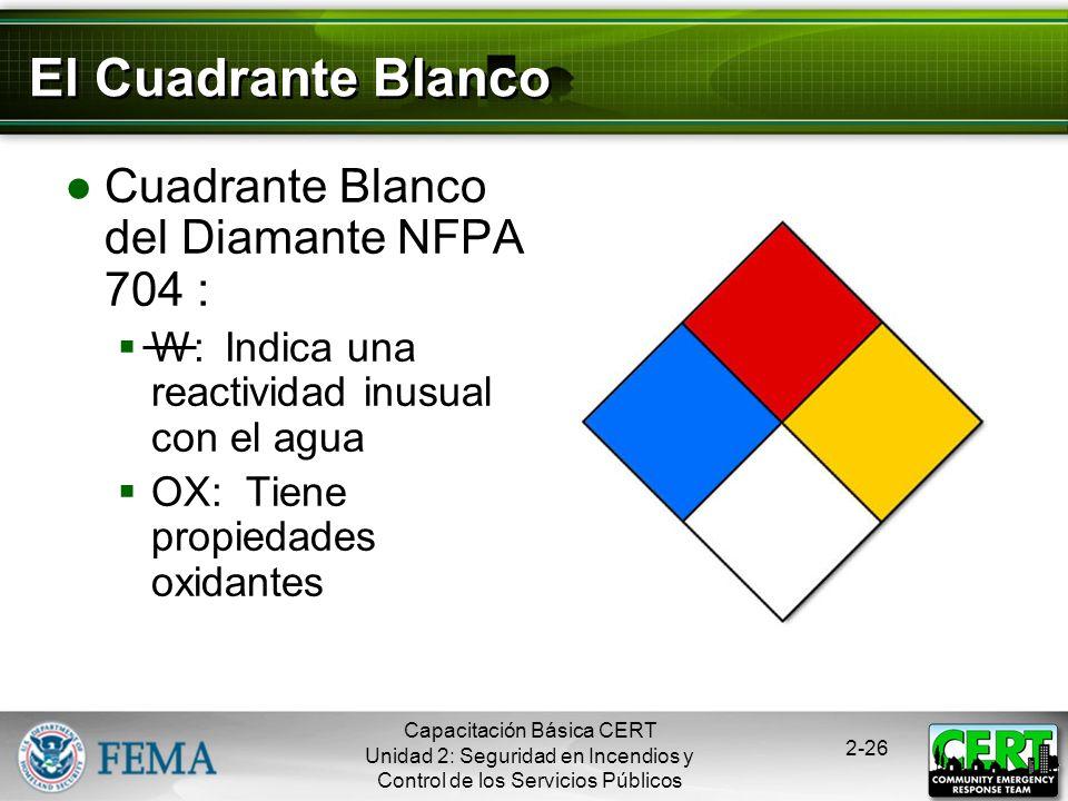 El Cuadrante Blanco Cuadrante Blanco del Diamante NFPA 704 :
