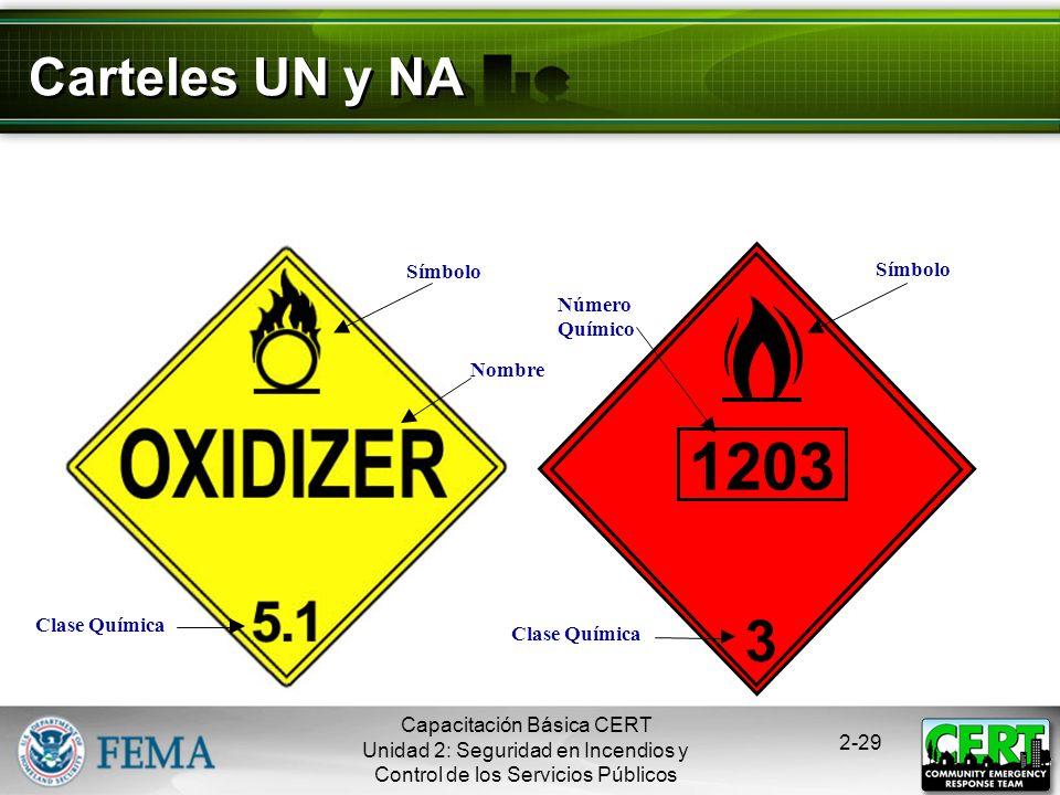 1203 3 Carteles UN y NA Símbolo Número Químico Nombre Clase Química