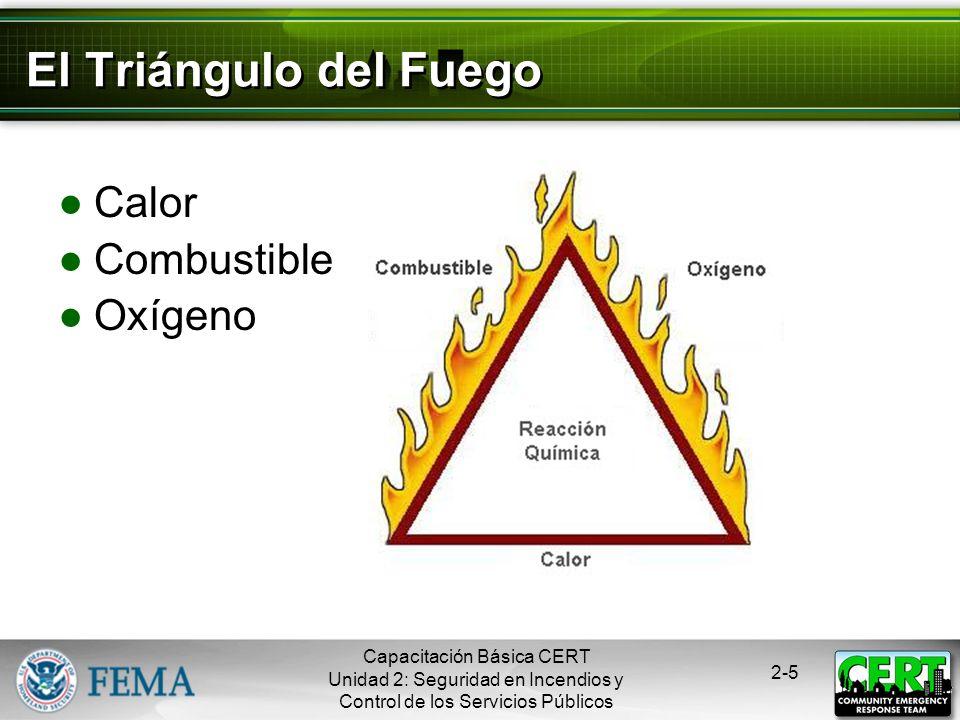 El Triángulo del Fuego Calor Combustible Oxígeno