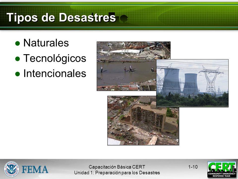 Tipos de Desastres Naturales Tecnológicos Intencionales