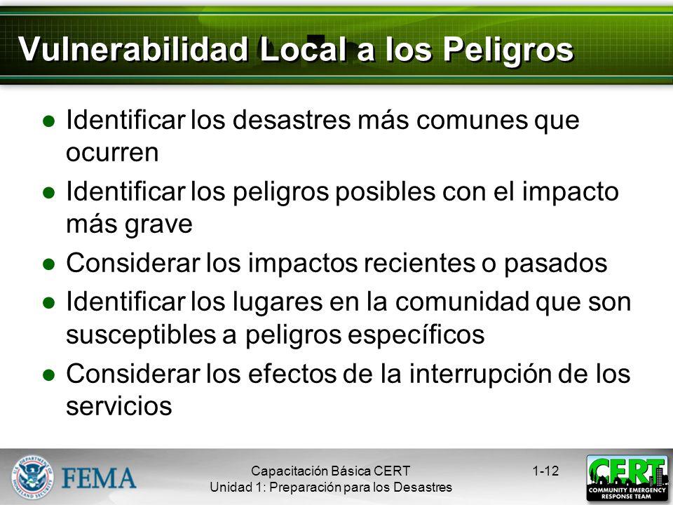 Vulnerabilidad Local a los Peligros