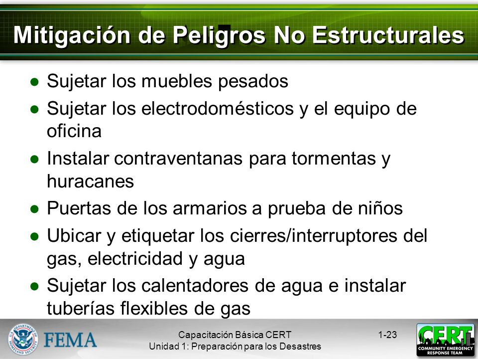 Mitigación de Peligros No Estructurales