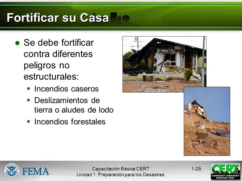 Fortificar su Casa Se debe fortificar contra diferentes peligros no estructurales: Incendios caseros.