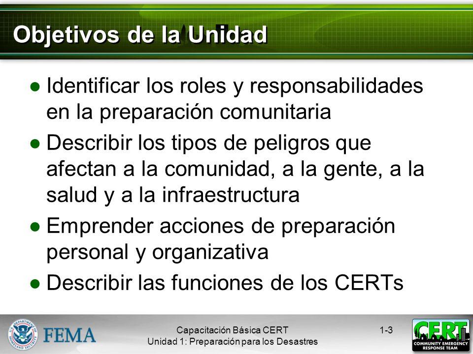 Objetivos de la Unidad Identificar los roles y responsabilidades en la preparación comunitaria.
