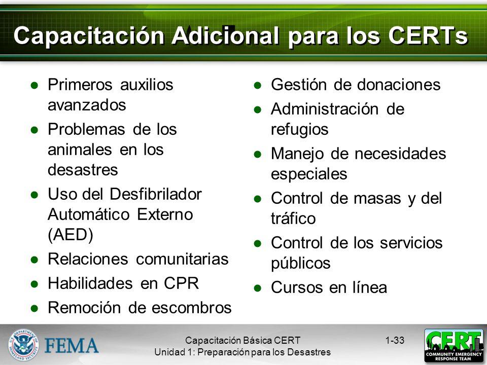Capacitación Adicional para los CERTs