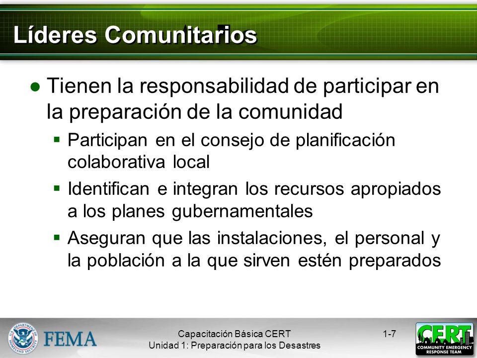 Líderes Comunitarios Tienen la responsabilidad de participar en la preparación de la comunidad.