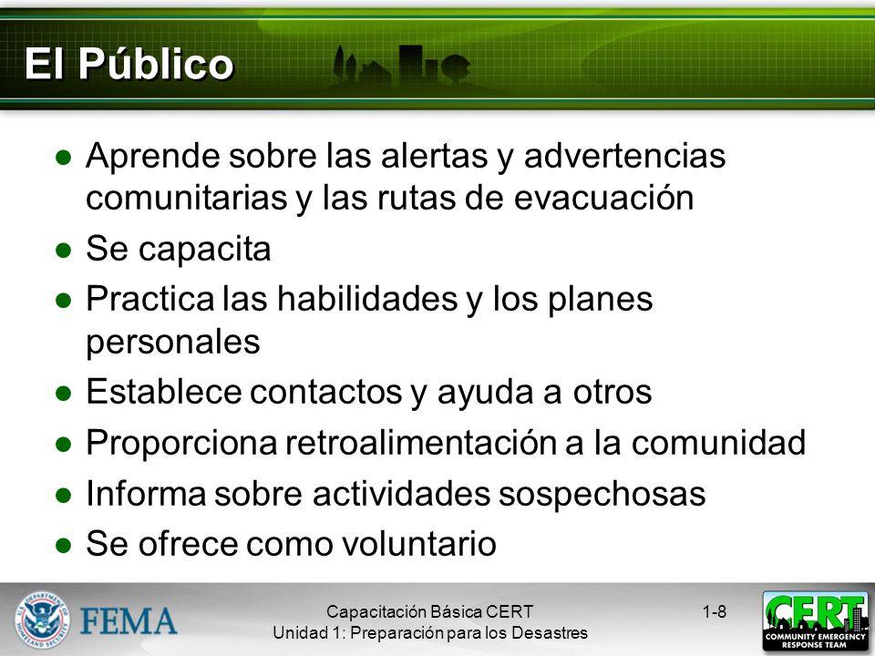 El Público Aprende sobre las alertas y advertencias comunitarias y las rutas de evacuación. Se capacita.