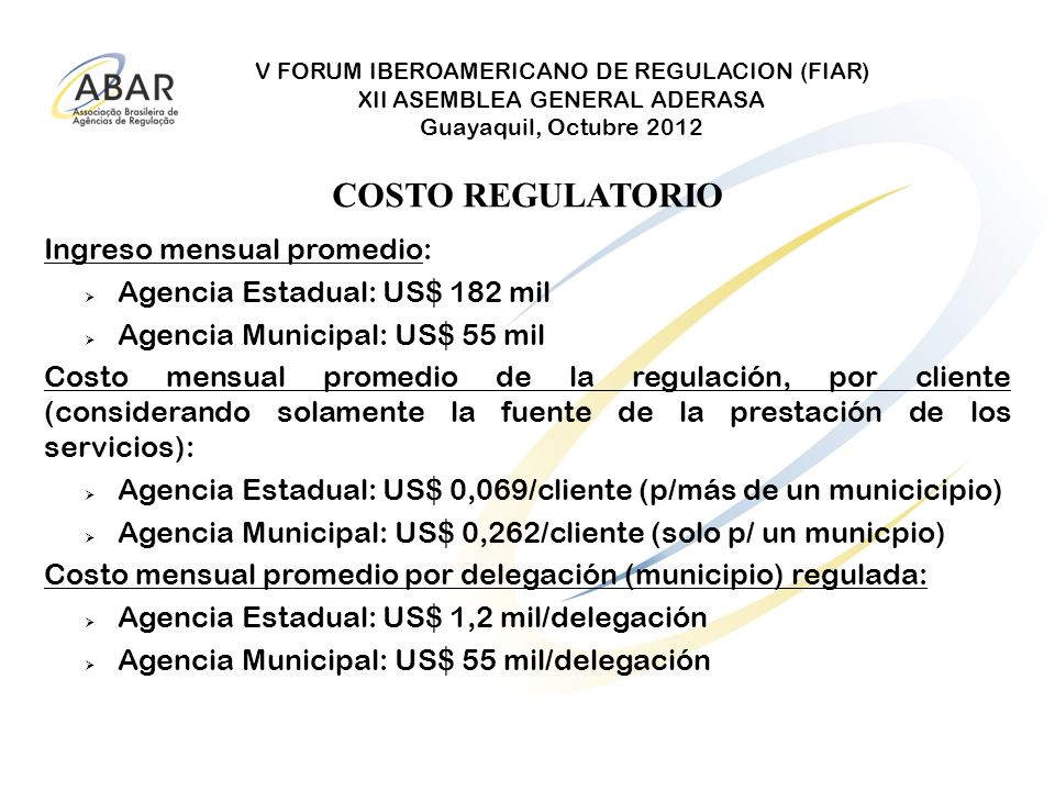 COSTO REGULATORIO Ingreso mensual promedio: