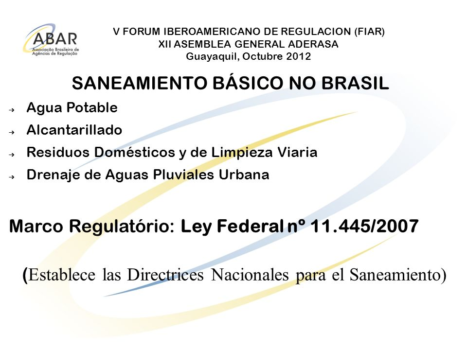 SANEAMIENTO BÁSICO NO BRASIL