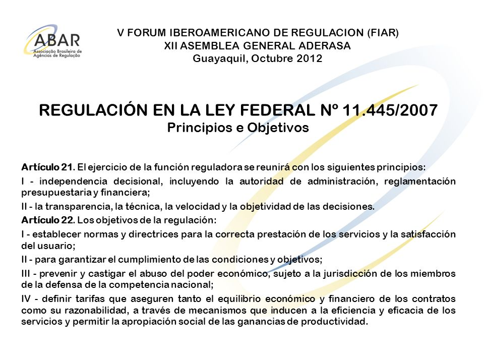 REGULACIÓN EN LA LEY FEDERAL Nº 11.445/2007