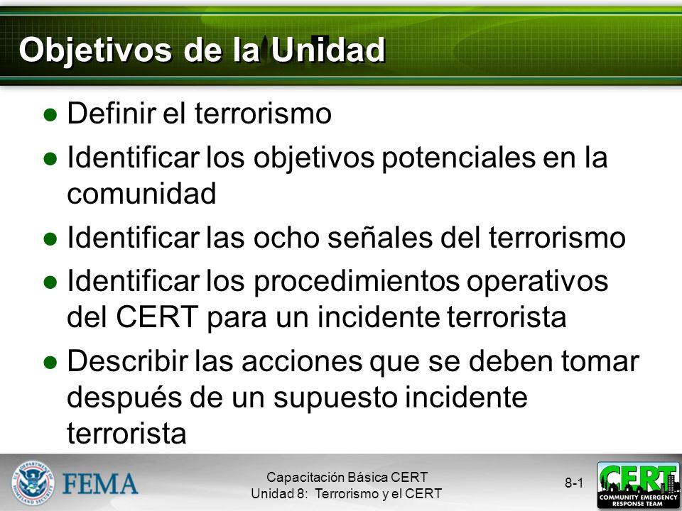Objetivos de la Unidad Definir el terrorismo