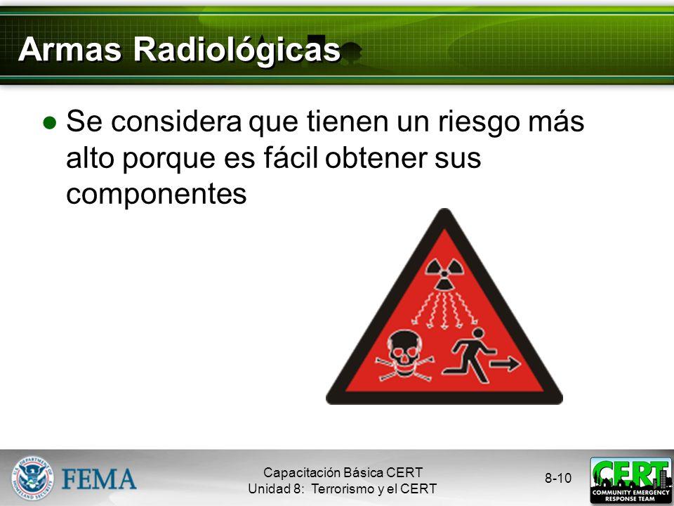 Armas Radiológicas Se considera que tienen un riesgo más alto porque es fácil obtener sus componentes.
