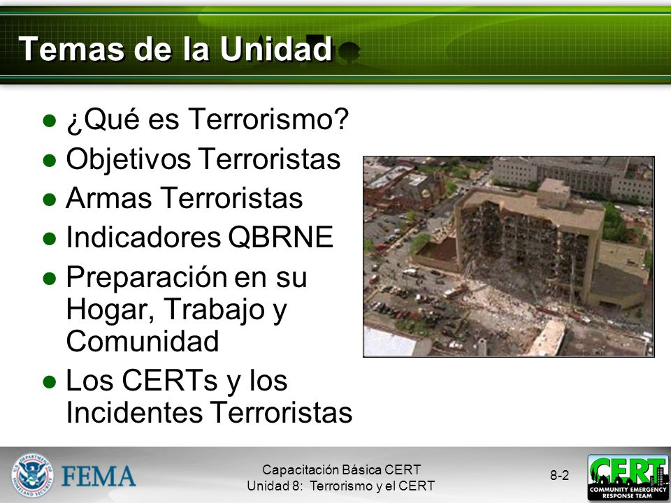 Temas de la Unidad ¿Qué es Terrorismo Objetivos Terroristas