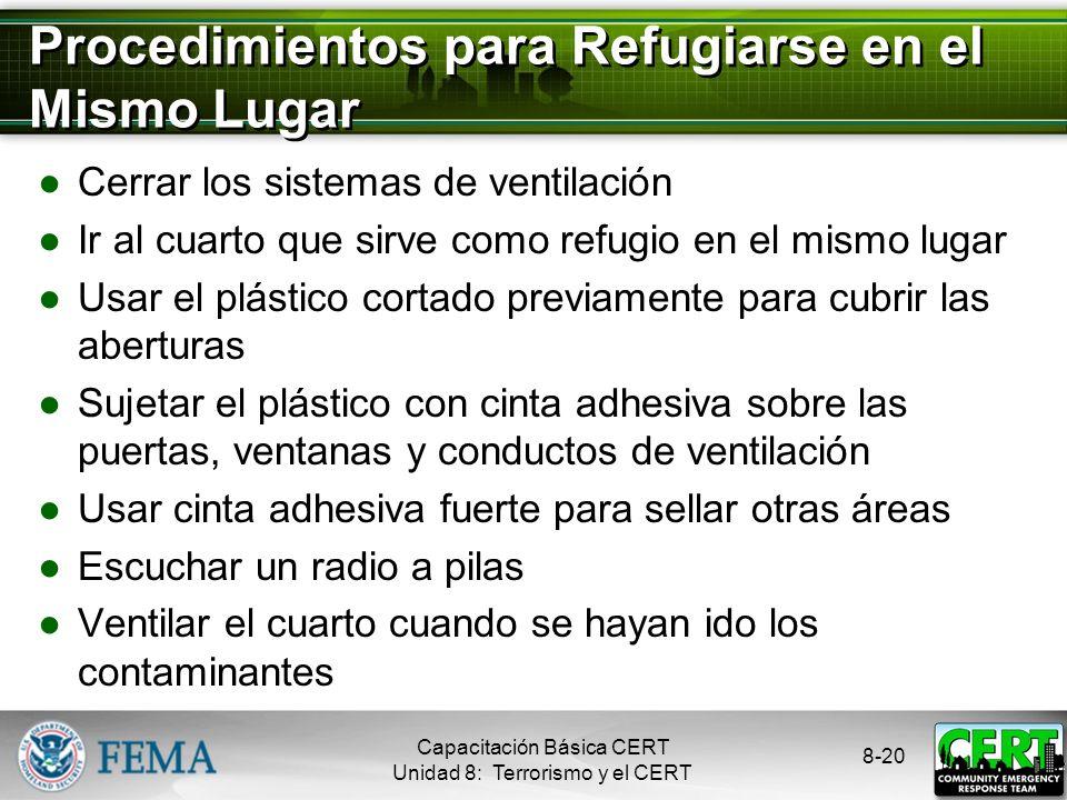 Procedimientos para Refugiarse en el Mismo Lugar