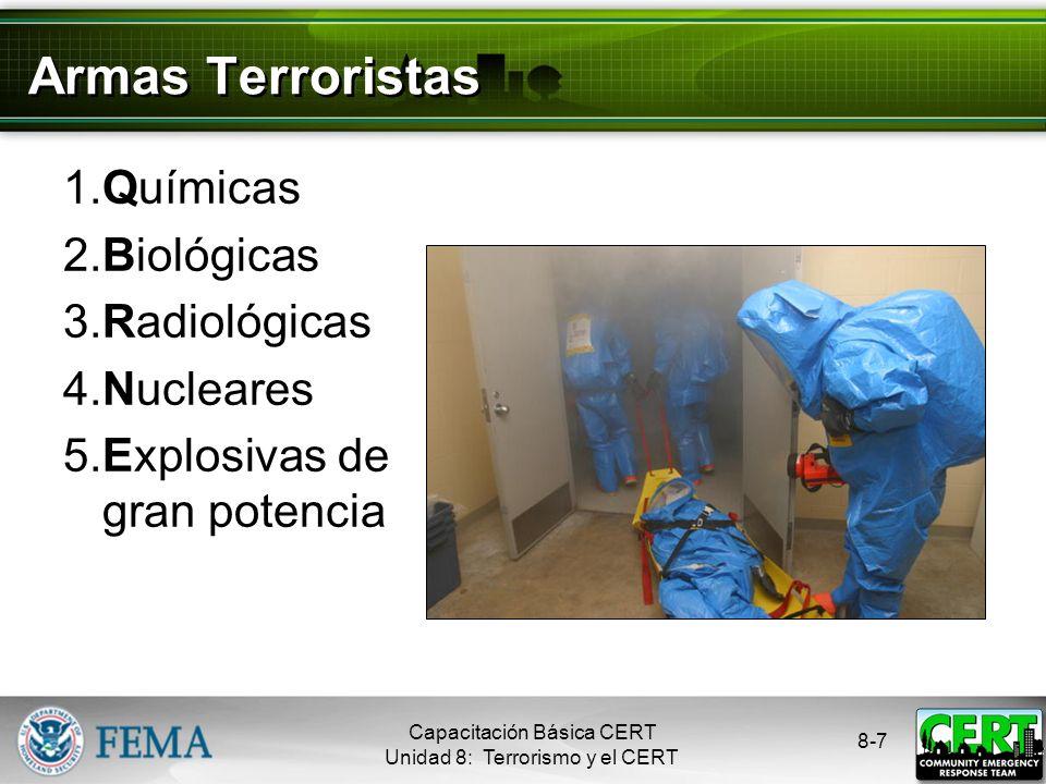 Armas Terroristas 1. Químicas 2. Biológicas 3. Radiológicas