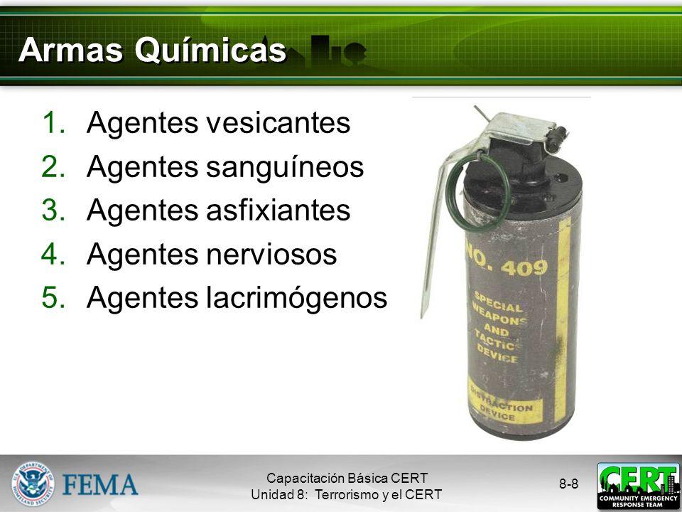 Armas Químicas Agentes vesicantes Agentes sanguíneos