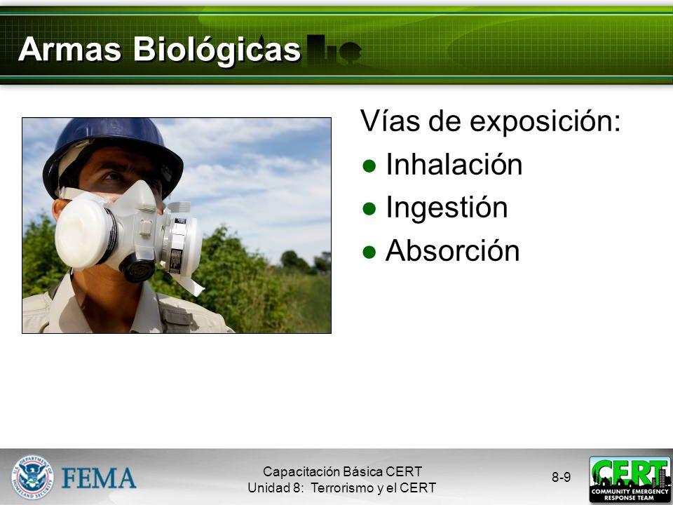 Armas Biológicas Vías de exposición: Inhalación Ingestión Absorción