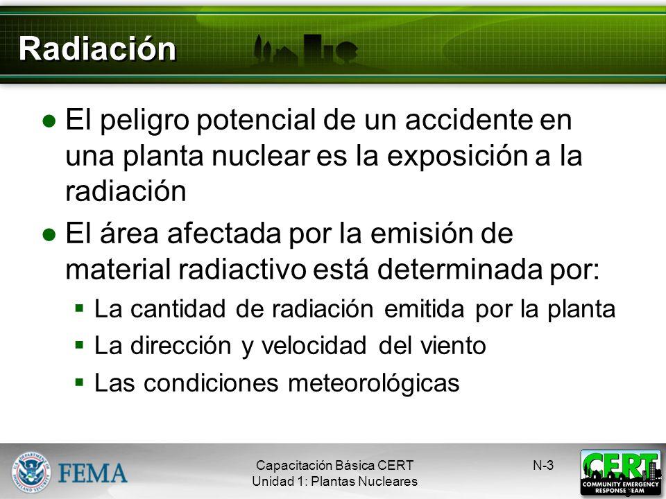 Radiación El peligro potencial de un accidente en una planta nuclear es la exposición a la radiación.