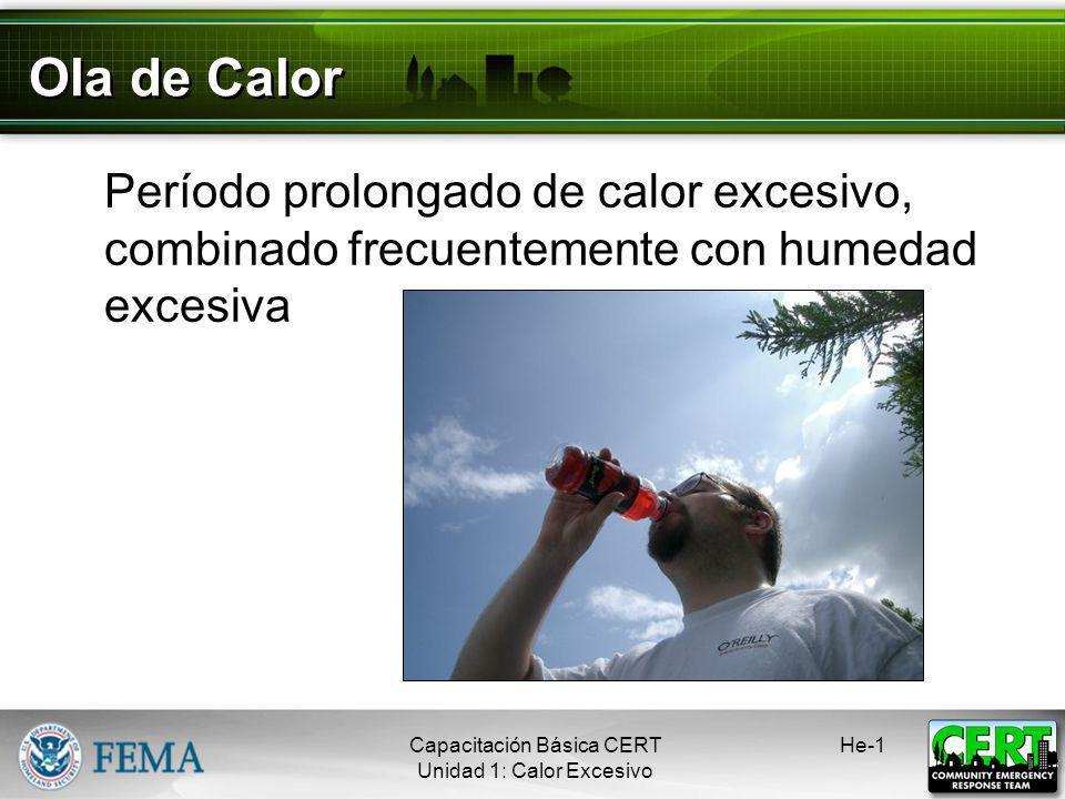 Ola de Calor Período prolongado de calor excesivo, combinado frecuentemente con humedad excesiva. Capacitación Básica CERT.