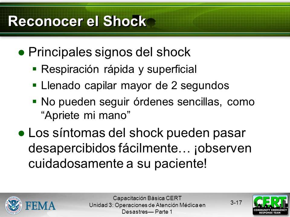 Reconocer el Shock Principales signos del shock