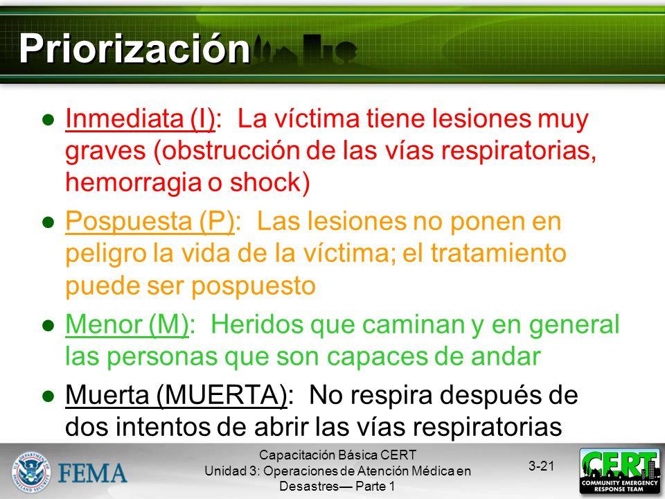 PriorizaciónInmediata (I): La víctima tiene lesiones muy graves (obstrucción de las vías respiratorias, hemorragia o shock)