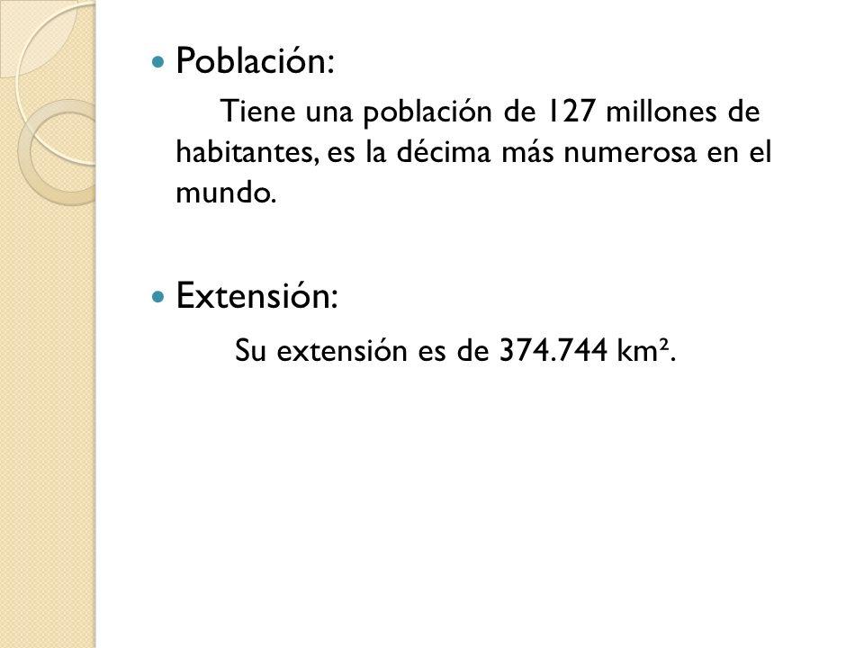 Población: Extensión: Su extensión es de 374.744 km².