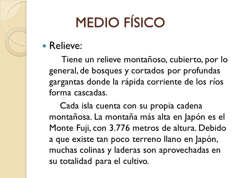 MEDIO FÍSICO Relieve: