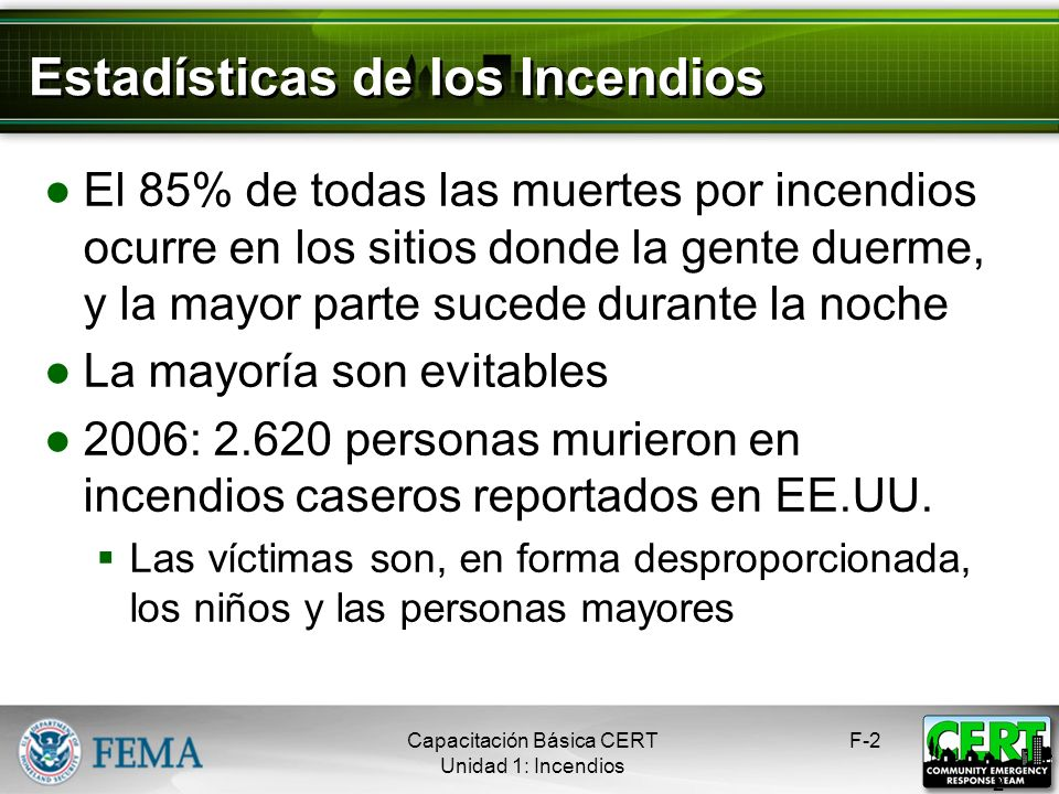 Estadísticas de los Incendios