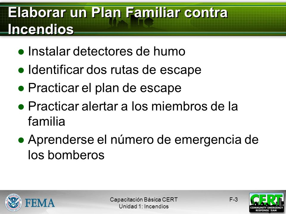 Elaborar un Plan Familiar contra Incendios