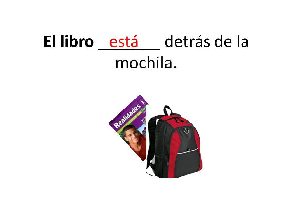El libro _______ detrás de la mochila.