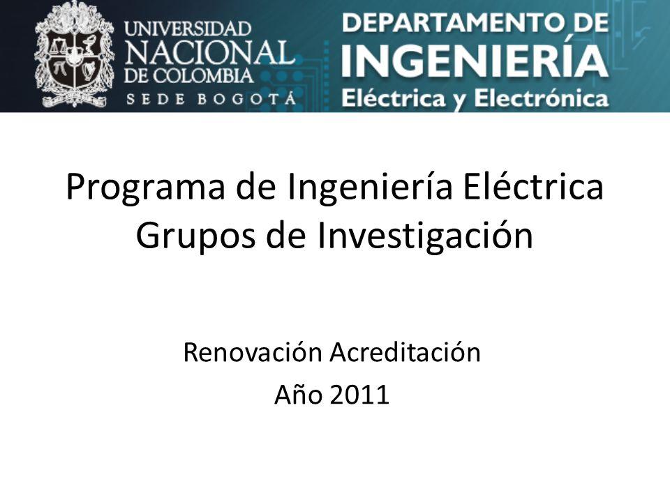 Programa de Ingeniería Eléctrica Grupos de Investigación