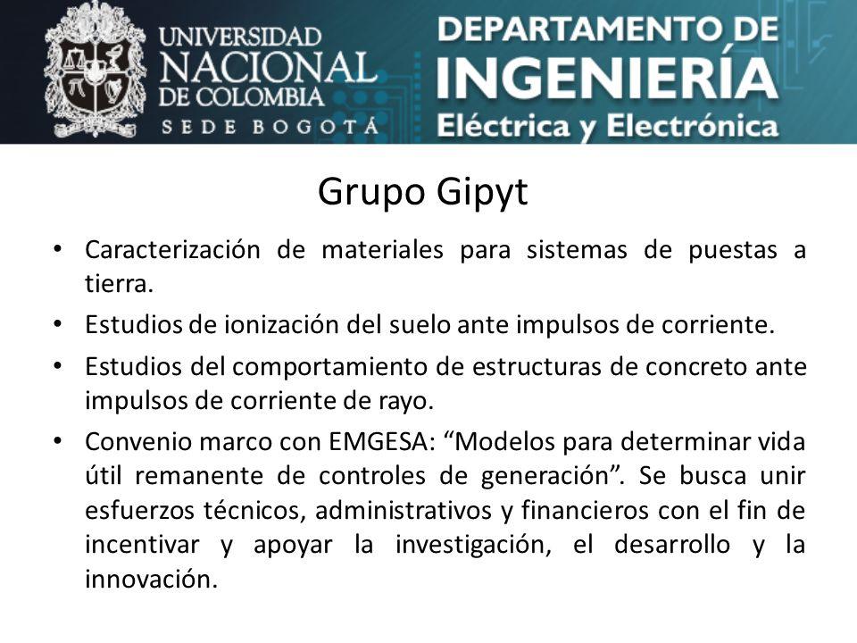 Grupo Gipyt Caracterización de materiales para sistemas de puestas a tierra. Estudios de ionización del suelo ante impulsos de corriente.