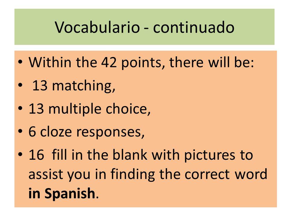Vocabulario - continuado