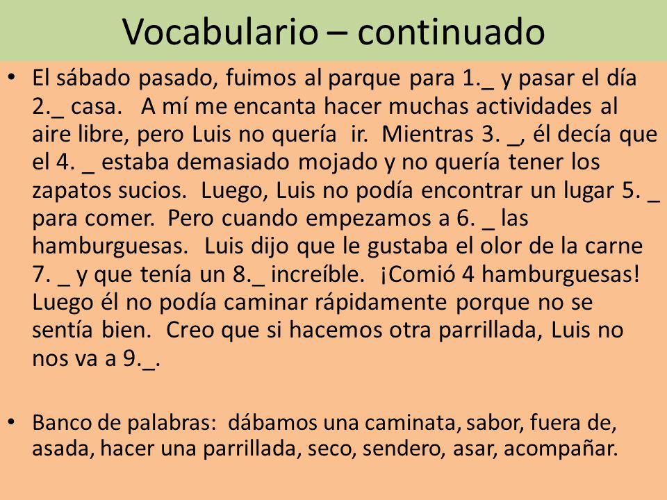 Vocabulario – continuado