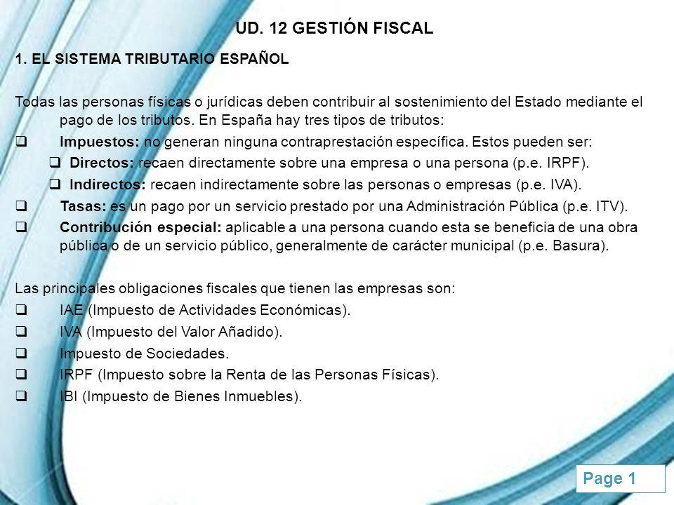 UD. 12 GESTIÓN FISCAL 1. EL SISTEMA TRIBUTARIO ESPAÑOL
