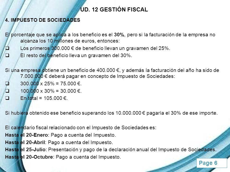 UD. 12 GESTIÓN FISCAL 4. IMPUESTO DE SOCIEDADES