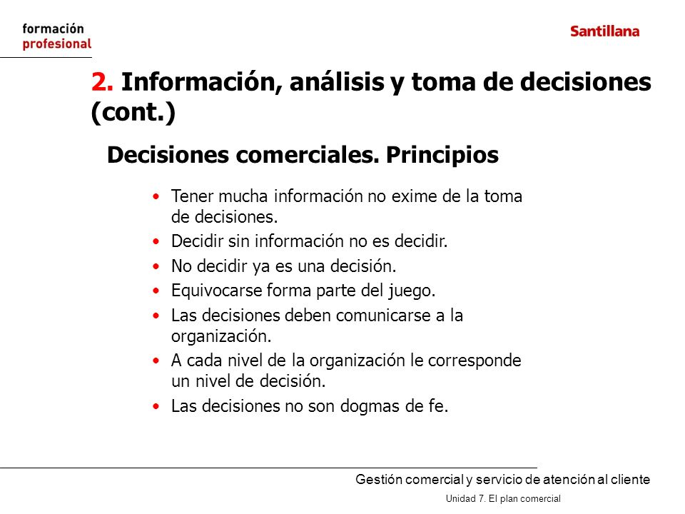 2. Información, análisis y toma de decisiones (cont.)