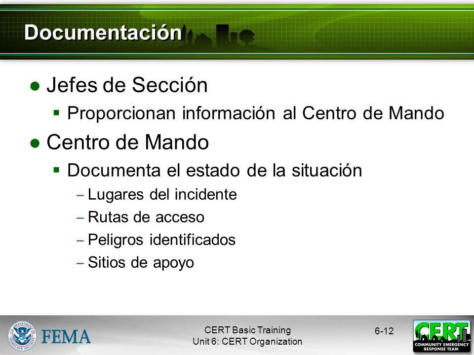 Documentación Jefes de Sección Centro de Mando