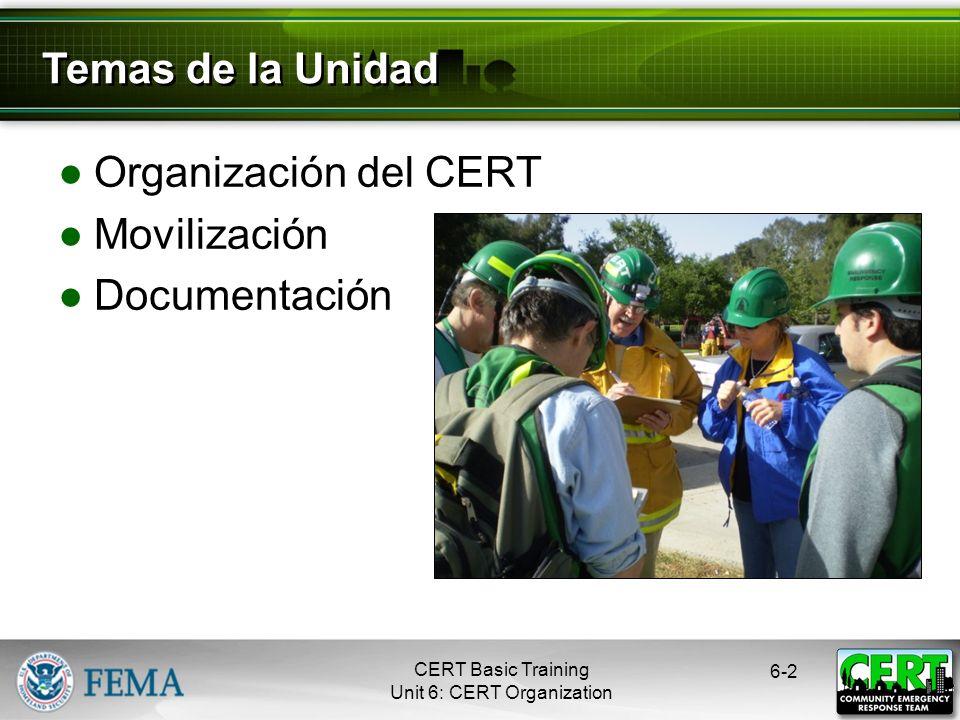 Temas de la Unidad Organización del CERT Movilización Documentación 2