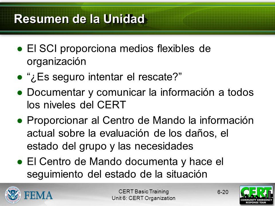 Resumen de la Unidad El SCI proporciona medios flexibles de organización. ¿Es seguro intentar el rescate