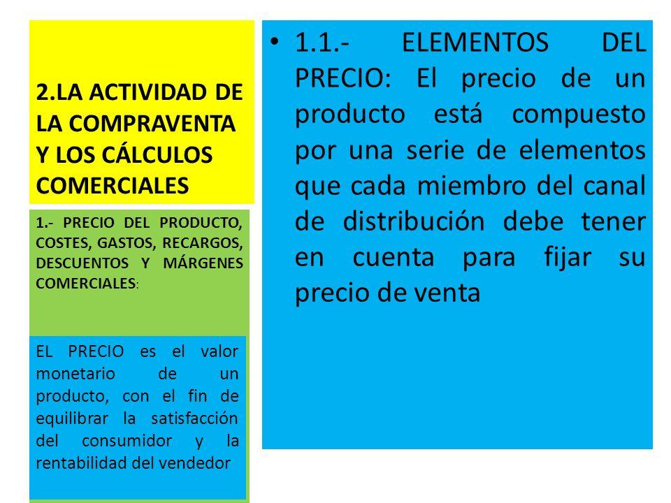 2.LA ACTIVIDAD DE LA COMPRAVENTA Y LOS CÁLCULOS COMERCIALES