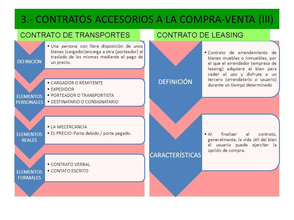 3.- CONTRATOS ACCESORIOS A LA COMPRA-VENTA (III)